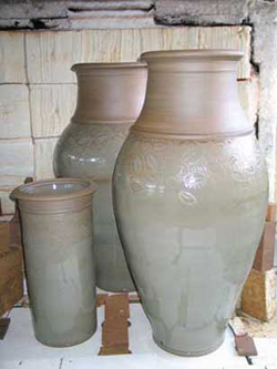 001 gallery, large pots coming out of the kiln