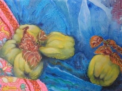Felicity Potter quinces, mixed media, felicity potter