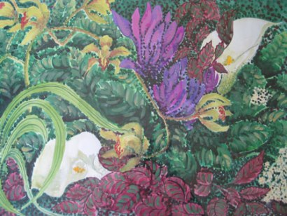 Felicity Potter spring garden, watercolour, felicity potter