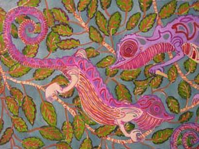 Felicity Potter chameleons, watercolour, felicity potter