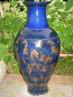 016 gallery, large blue glazed stoneware urn, 1 100mm tall
