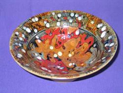 023 gallery, stoneware bowl, oatmeal glaze oakleaf pattern