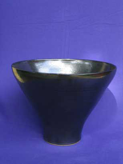026 gallery, stoneware bowl black glaze 300mm diam