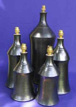 027 gallery, stoneware lamp bases 280 to 400mm tall
