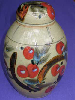 034 gallery, stoneware lidded jar 380mm tall