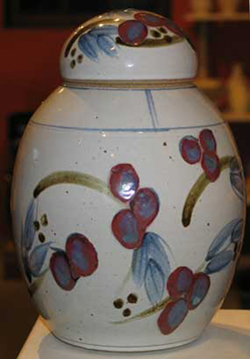 036 gallery, stoneware lidded jar 360mm tall