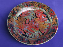 038 gallery, stoneware platter, oakleaf decoration 550mm diam