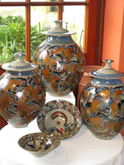 049 gallery, group of stoneware bowls & lidded jars