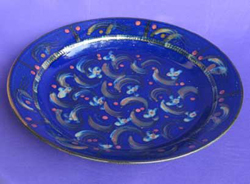 050 gallery, blue glazed stoneware platter 580mm diameter
