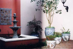 053 gallery, fountain, tiles & planters in courtyard