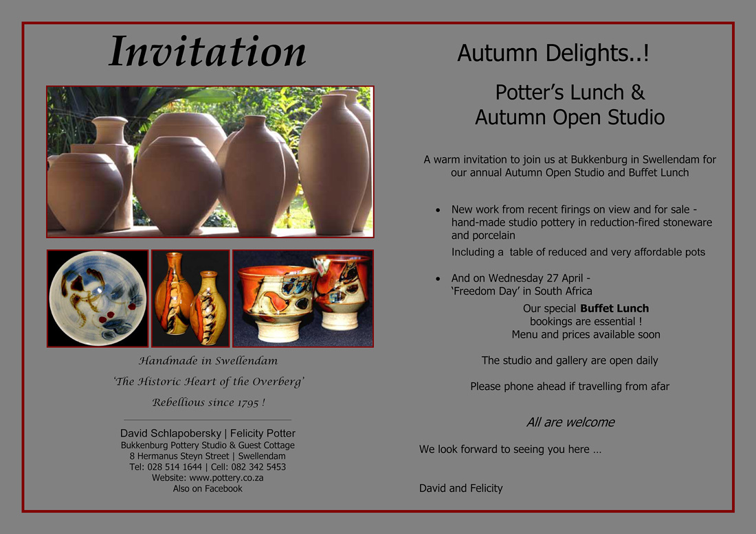 Potter's Lunch and Open Studio with David Schlapobersky and Felicity Potter, 20160417,-Invitation-1
