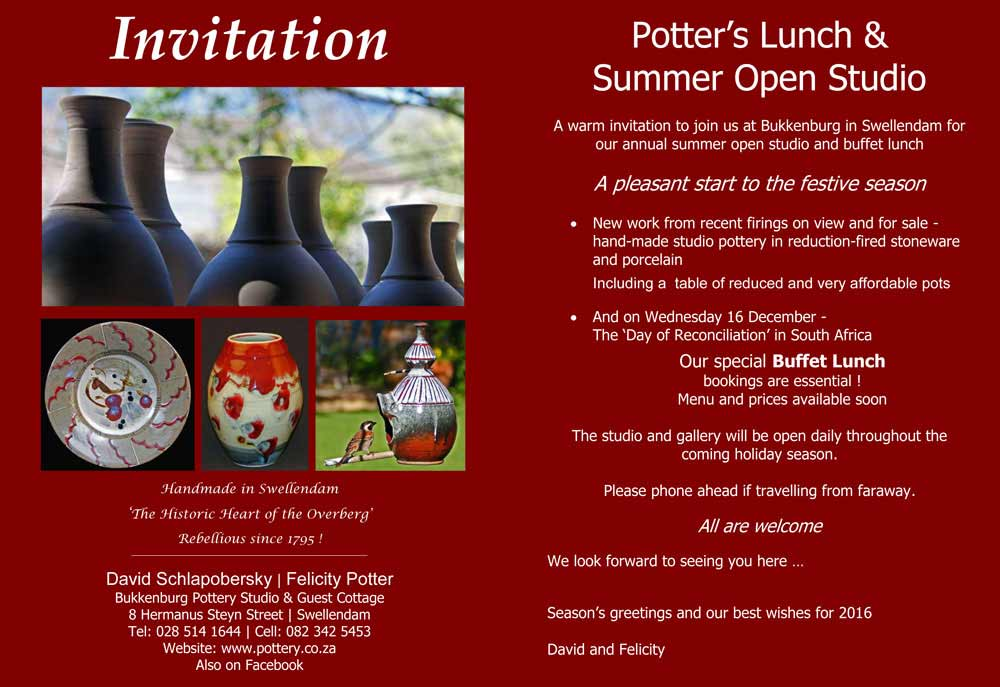 Open Weekends - Potter's Lunch and Open Studio with David & Felicity