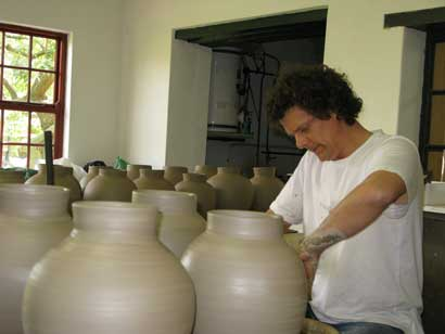 Tea Canisters for Nigiro Tea Merchants Paul throwing a tea canister.