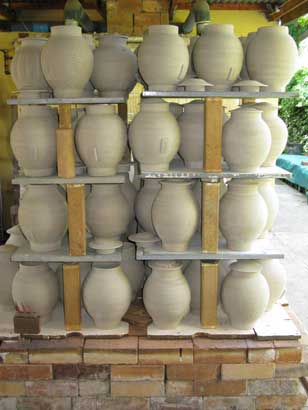 Tea Canisters for Nigiro Tea Merchants Bisque firing packed.