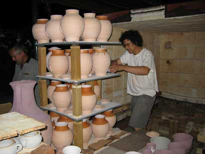 Tea Canisters for Nigiro Tea Merchants Paul & Myburgh packing the glaze kiln.