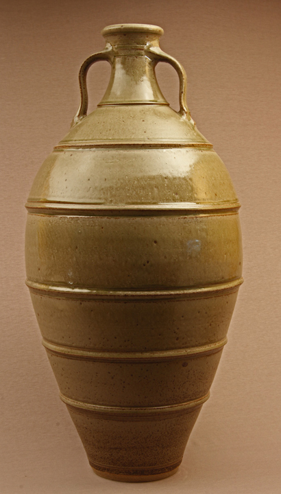 Big stoneware urn 980 mm tall. Wheel thrown, wood ash glaze, reduction-fired to 1320 degrees C - current work 007