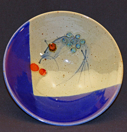 Current Work 011 - Stoneware bowl. Cone 12 reduction-fired in an oil kiln. David Schlapobersky & Felicity Potter