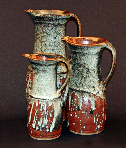 Current Work 013 - Group of stoneware jugs, or pitchers. David Schlapobersky & Felicity Potter