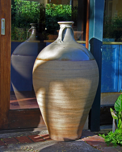 Current Work 017 - Wine jar - 1 150 mm tall Reduction-fired stoneware Wheel thrown. David Schlapobersky & Felicity Potter.