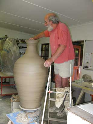 david throwing a large wine jar
