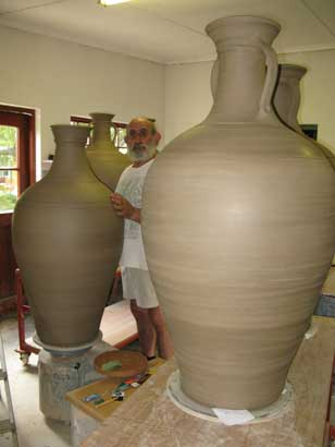 david attaching handles to large wine jars