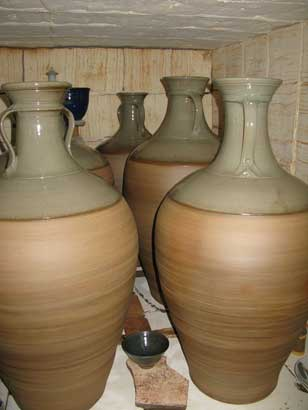 fired wine jars still in the kiln